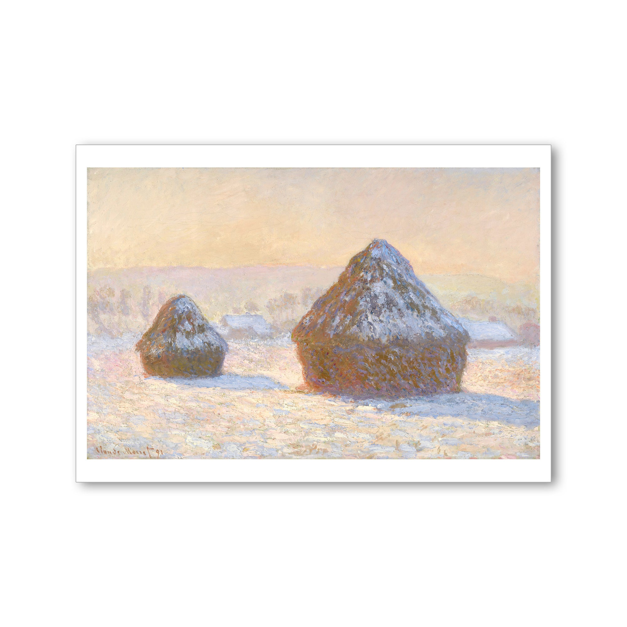 Monet- Wheatstacks, Snow Effect, Morning- Postcard | Getty Store