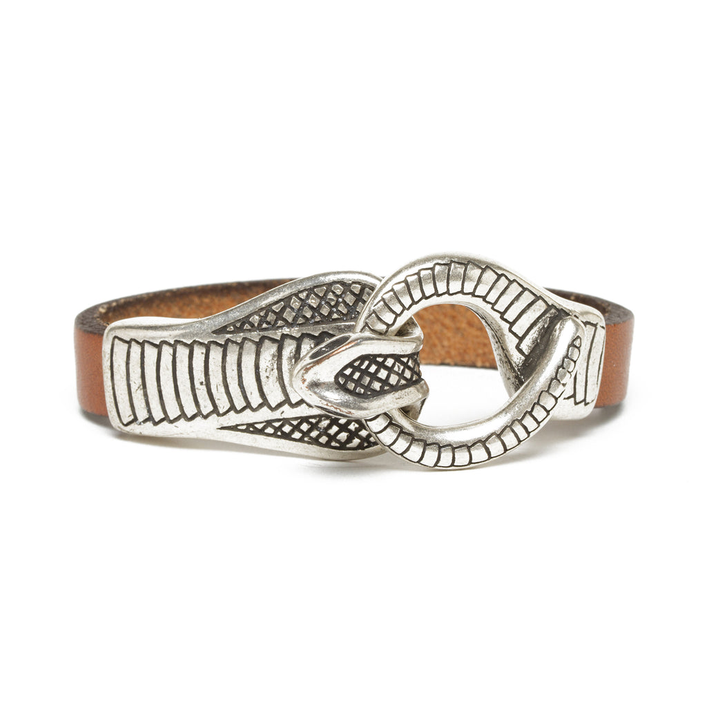 Leather Cobra Bracelet - Cognac