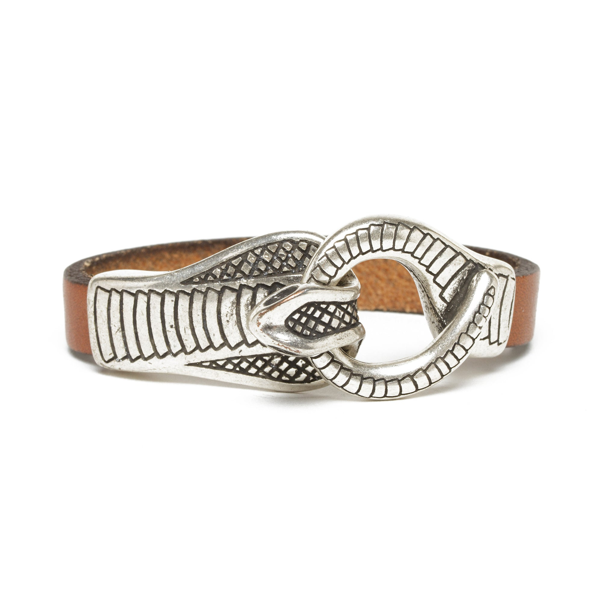 Leather Cobra Bracelet- Cognac | Getty Store