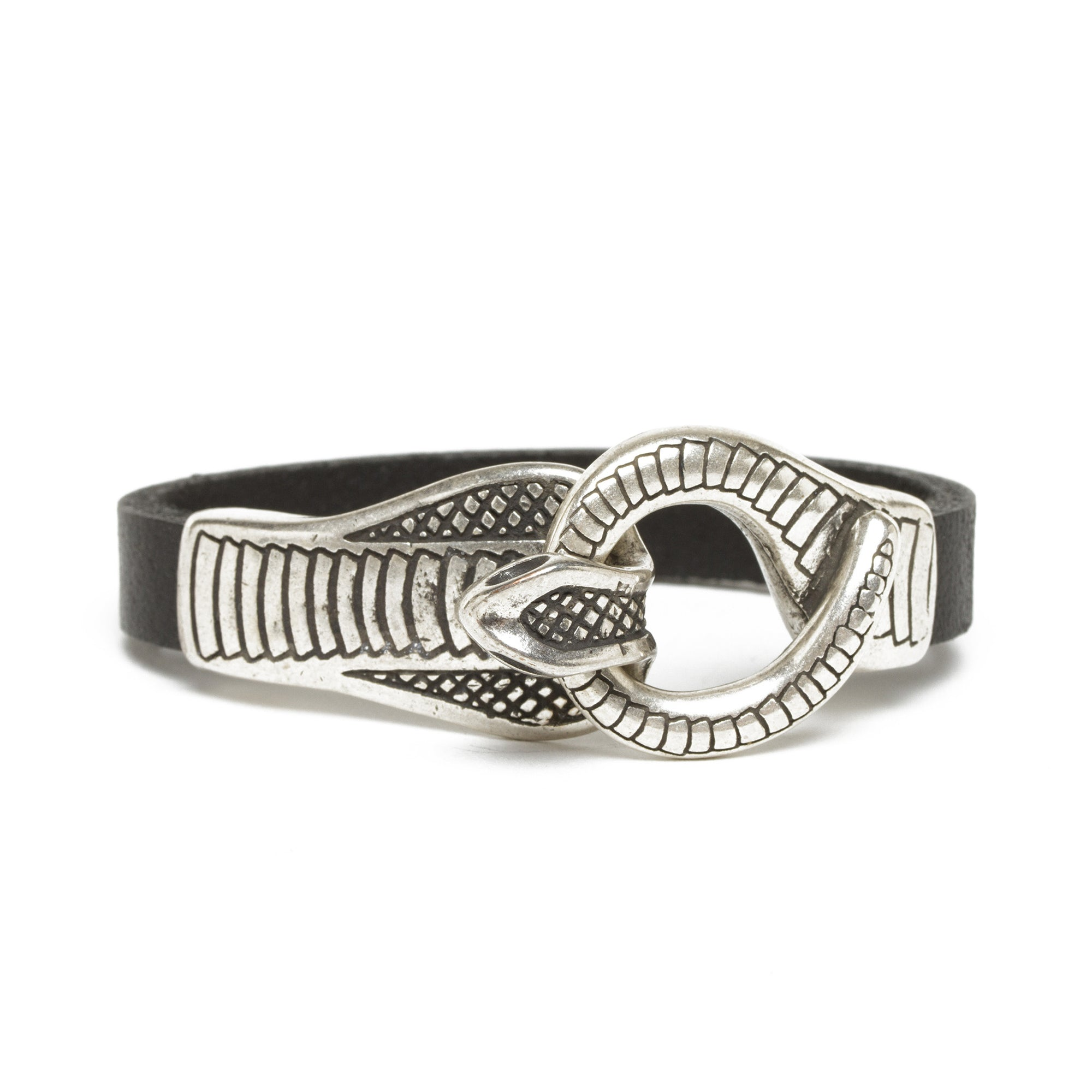 Leather Cobra Bracelet- Black | Getty Store