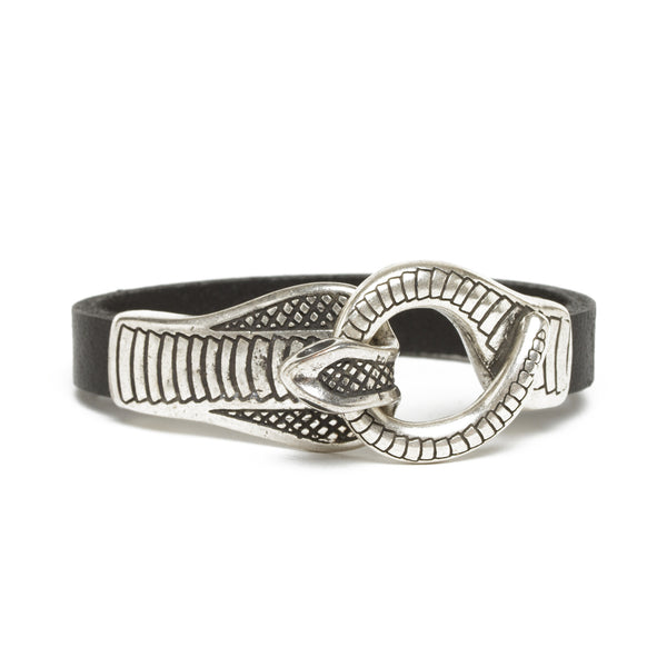 Leather Cobra Bracelet - Black