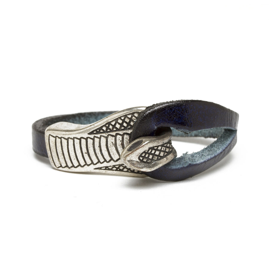 Leather Cobra Bracelet - Dark Blue