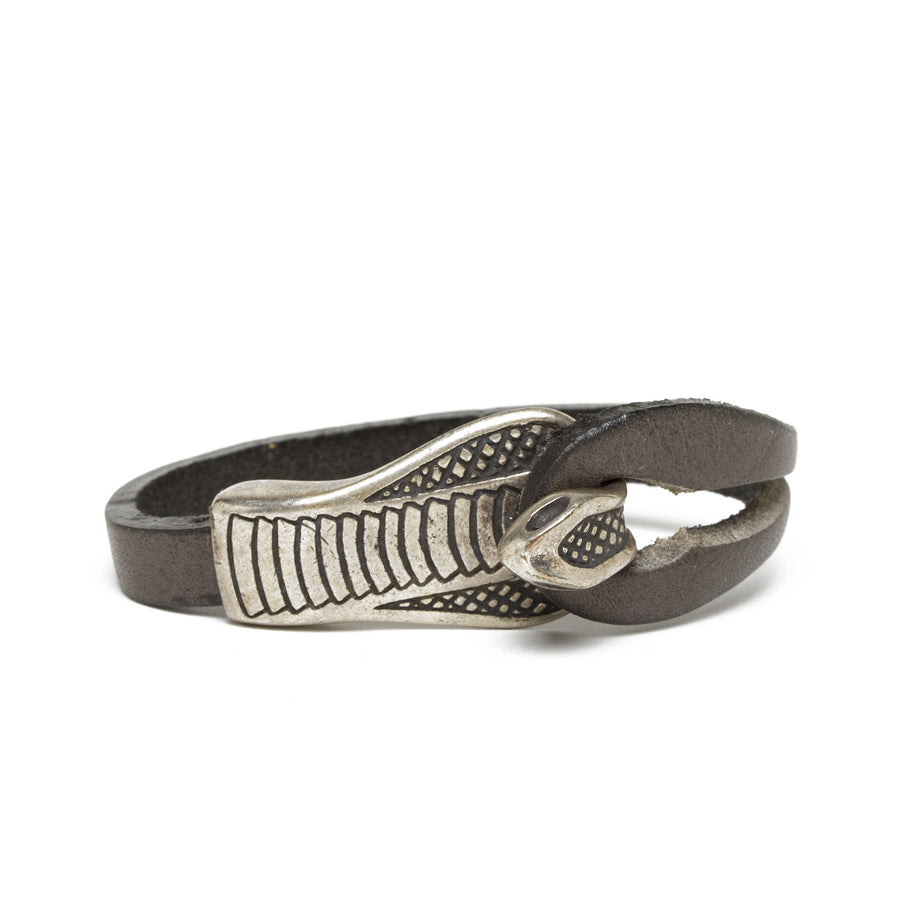 Leather Cobra Bracelet - Gray