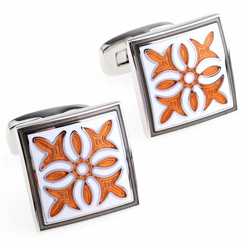 Orange and Gray Cuff Links