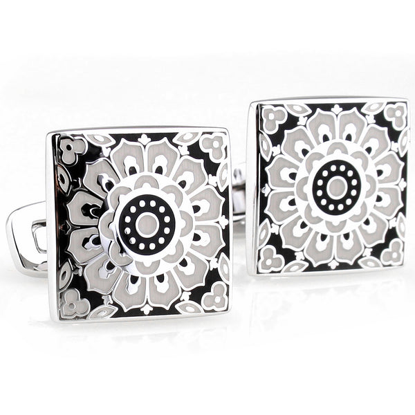 Black and White Kaleidoscope Cuff Links