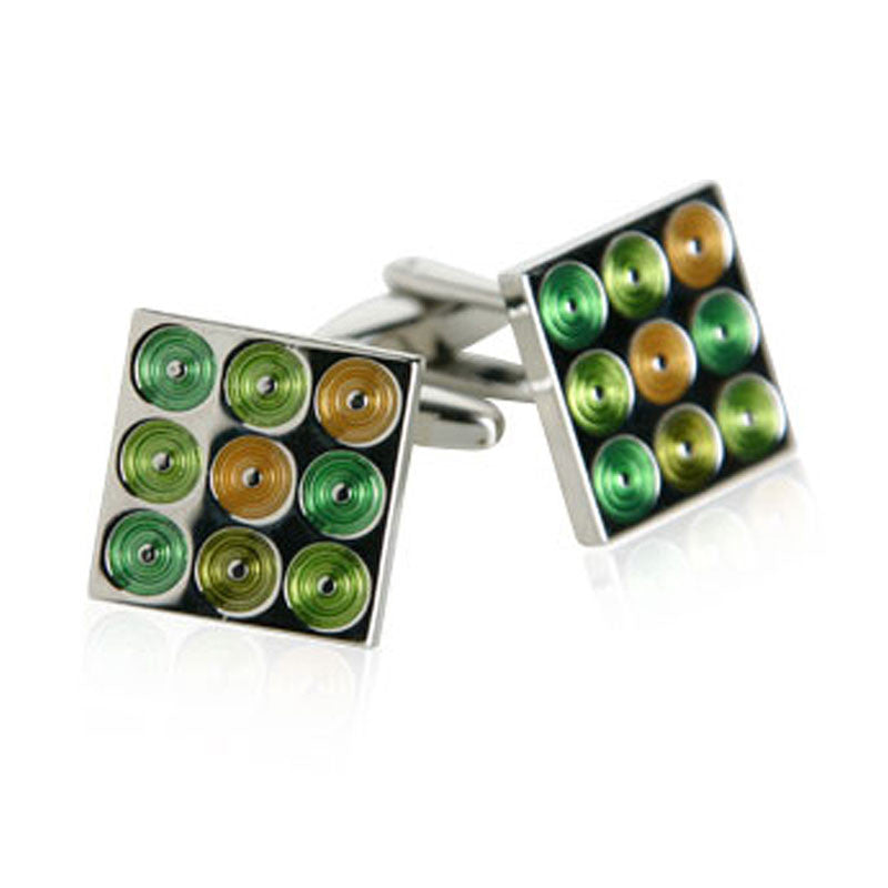 Cuff Links - Circles Green and Orange