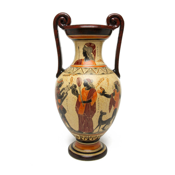 Greek Vase - Multicolor Volute Amphora with Light Yellow Ground