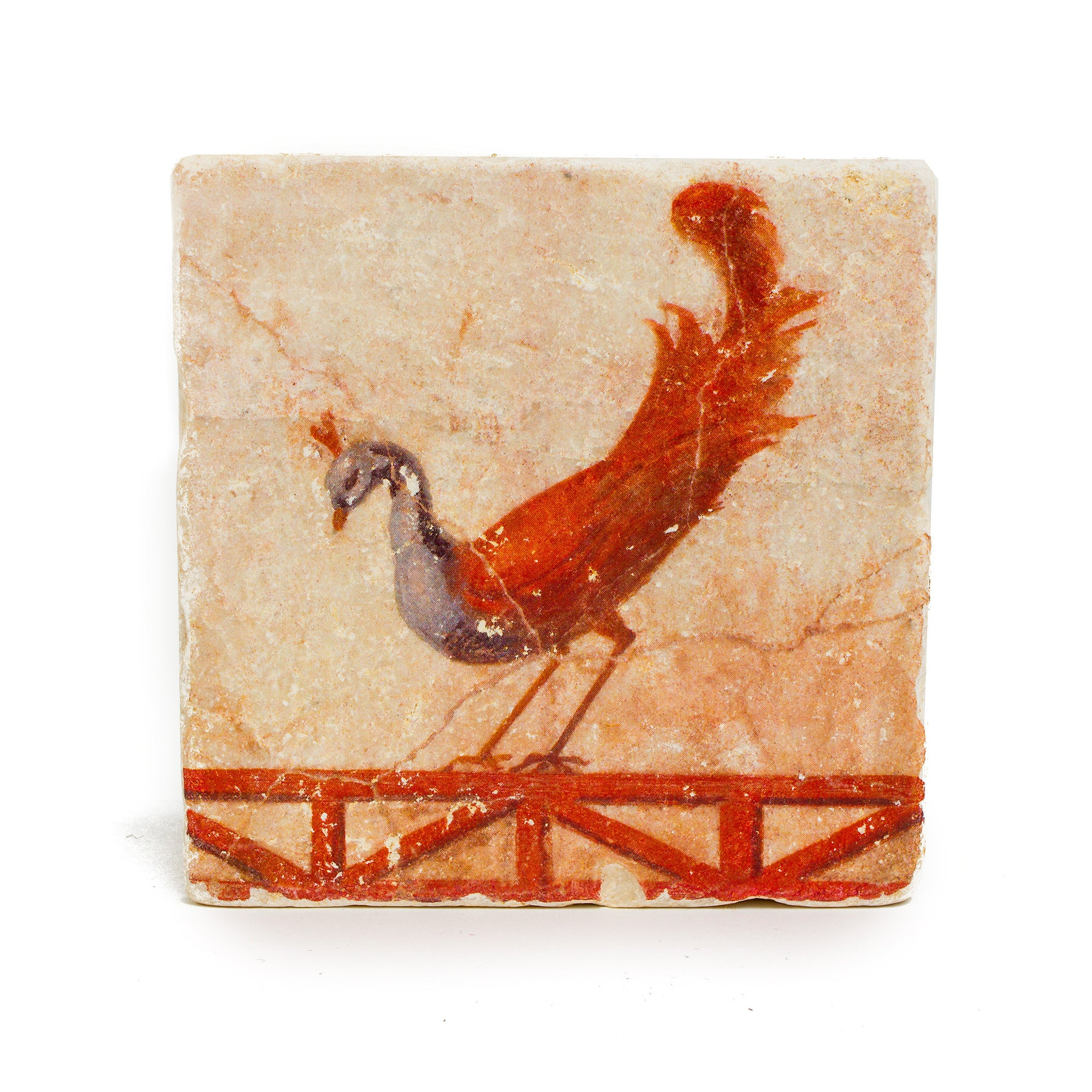 Peacock Roman Fresco Coaster