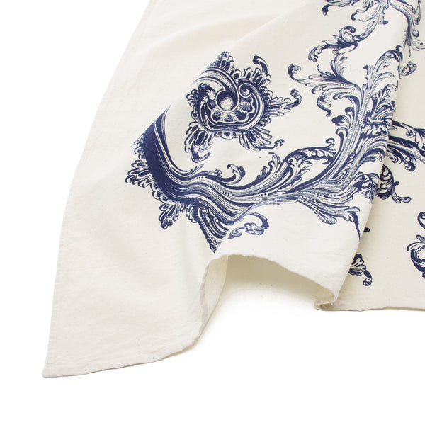Tea Towel - Blue Flourish Design