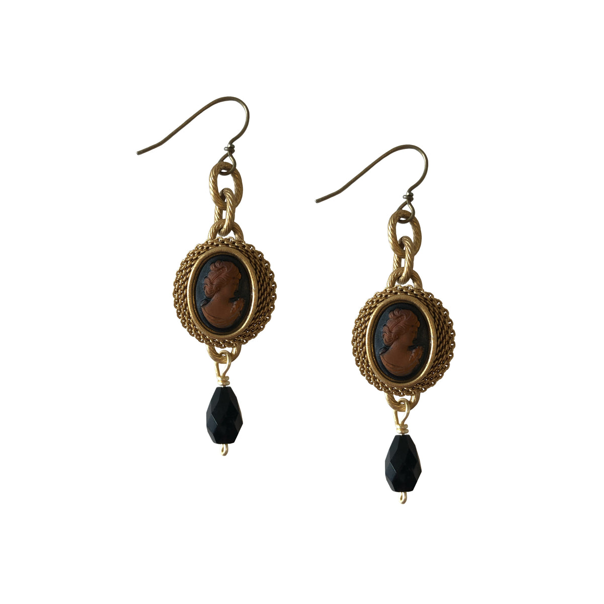Smoky Topaz Cameo and Faceted Jet Drop Earrings