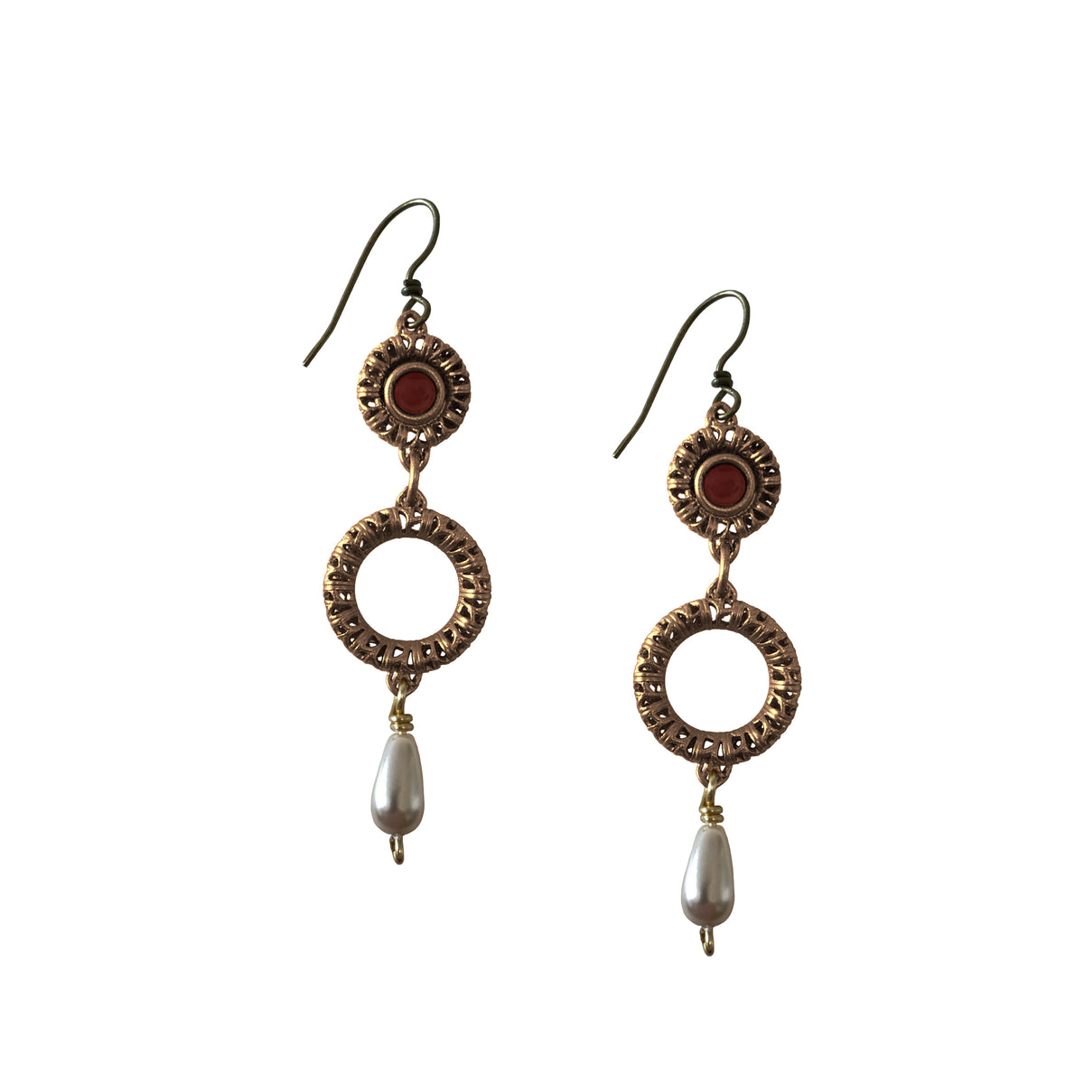 Carnelian and Pearl Filigree Circlet Drop Earrings