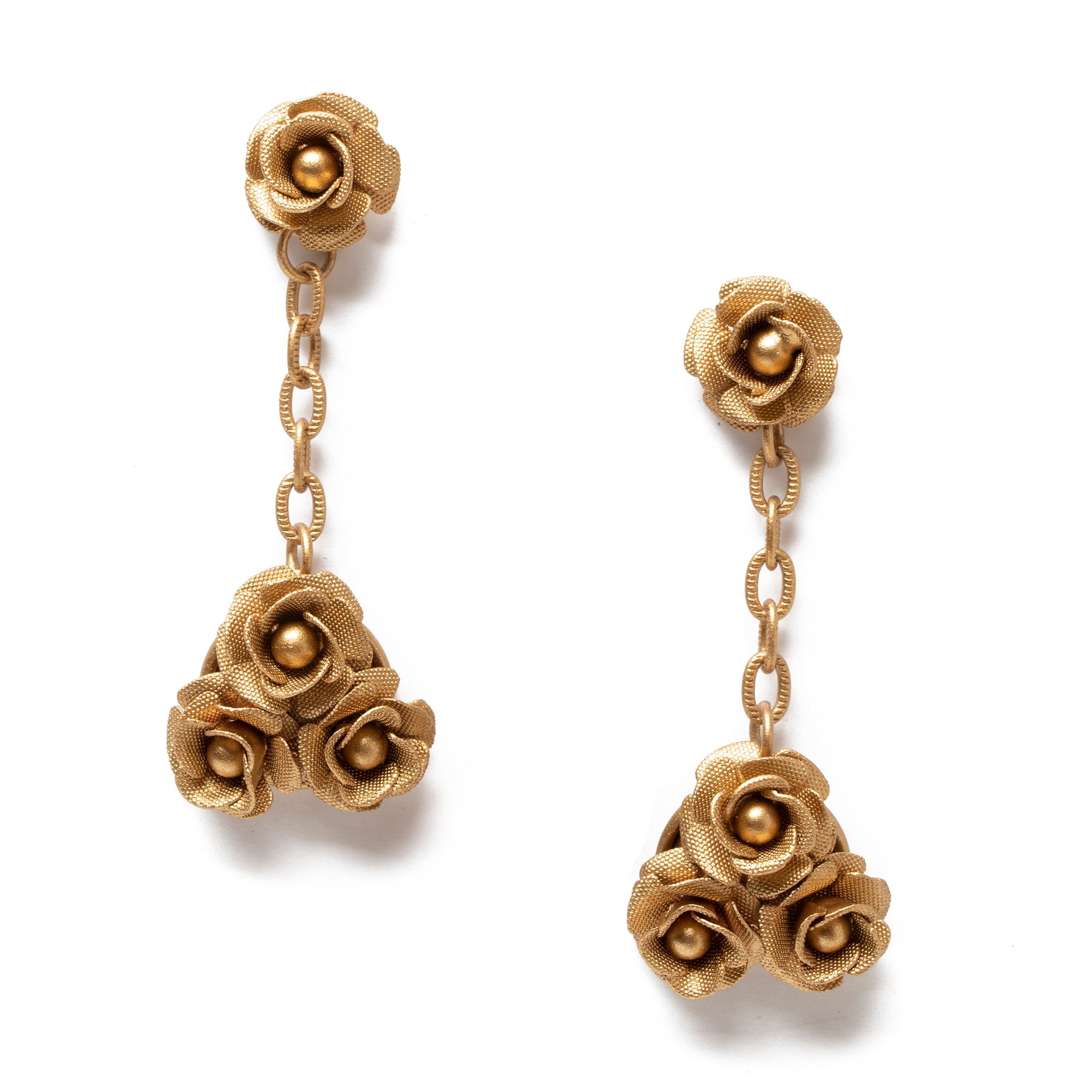 Rose Cluster Drop Earring