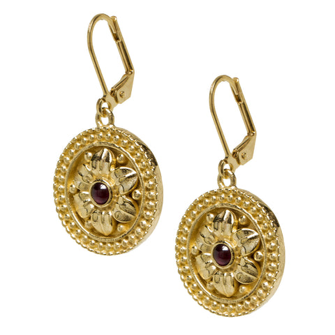 Gold Plated Etruscan Rosette Earrings
