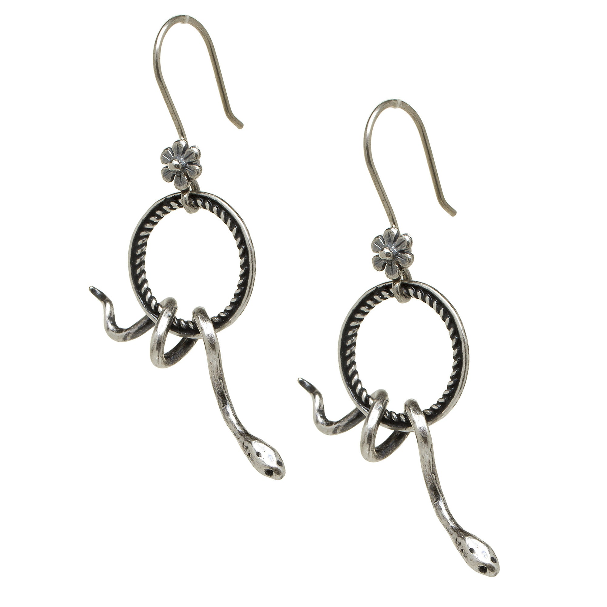Snake Earrings - Silver-Plated