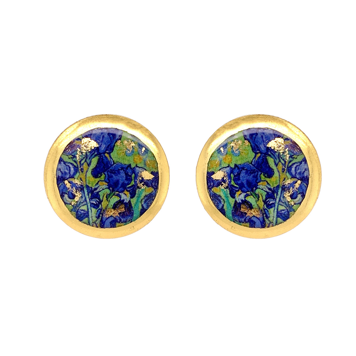 Van Gogh Irises Gold Leaf Stud Earrings