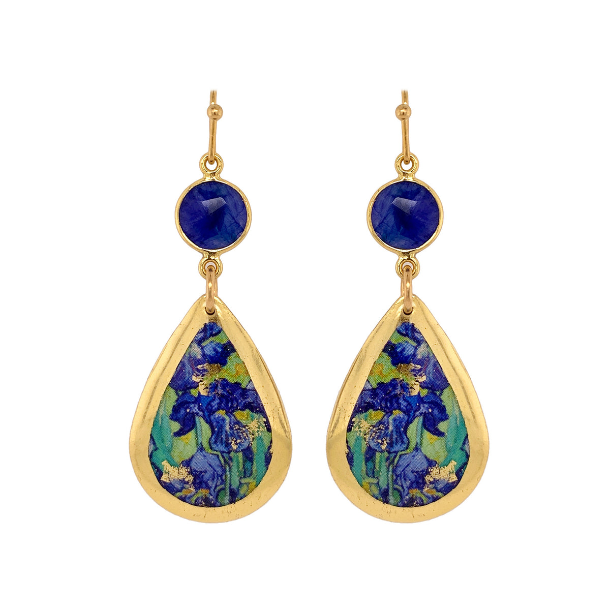 Van Gogh Irises Gold Leaf Teardrop Earrings