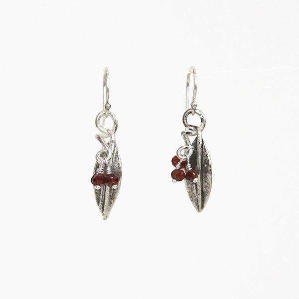 Pomegranate Leaf Earrings with Garnet Clusters - Silver-Plated