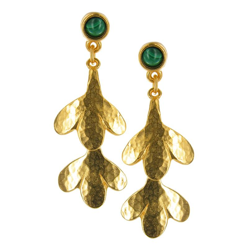 Hammered Double Leaf Malachite Earrings