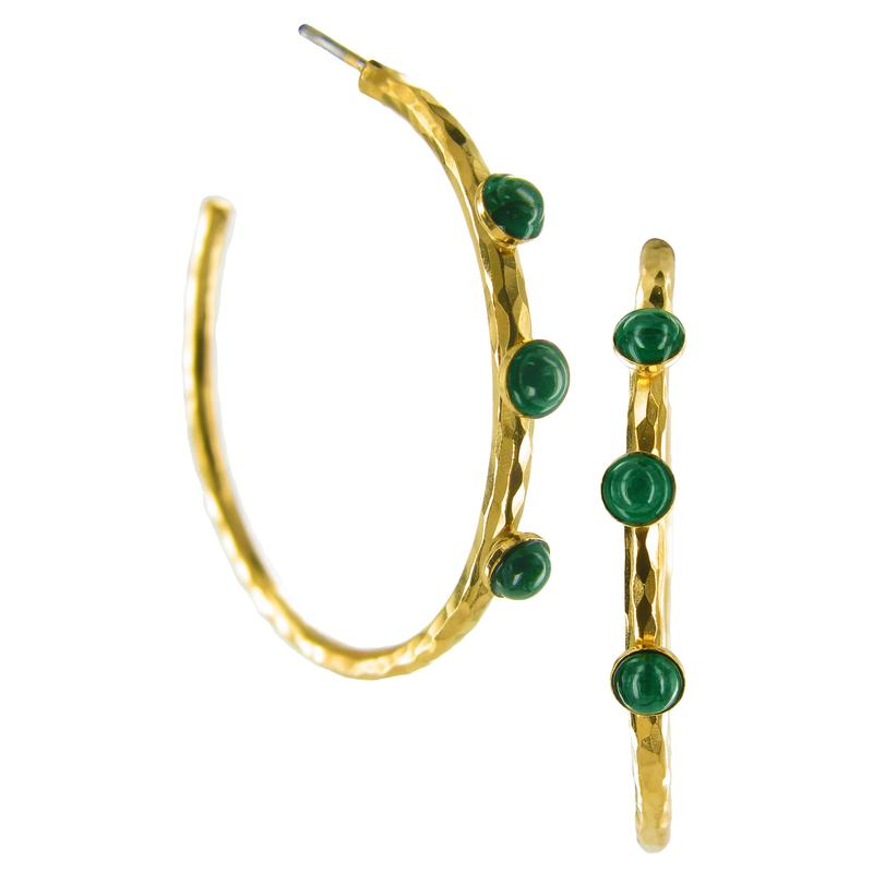 Hammered Small Hoop Malachite Earrings