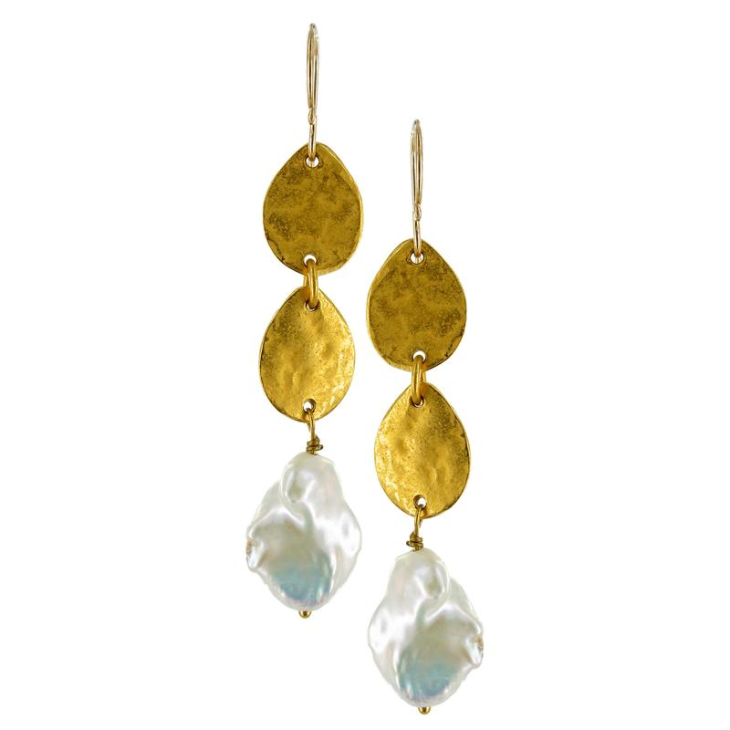 Stacked Seed and Pearl Drop Earrings | Getty Store
