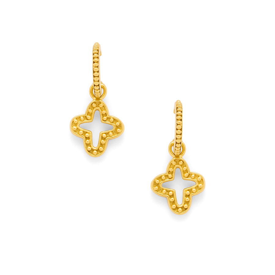 Quatrefoil Earrings with Granulated Accents