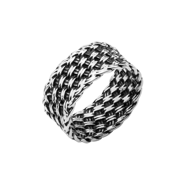 Stainless Steel Oxidized Woven Ring
