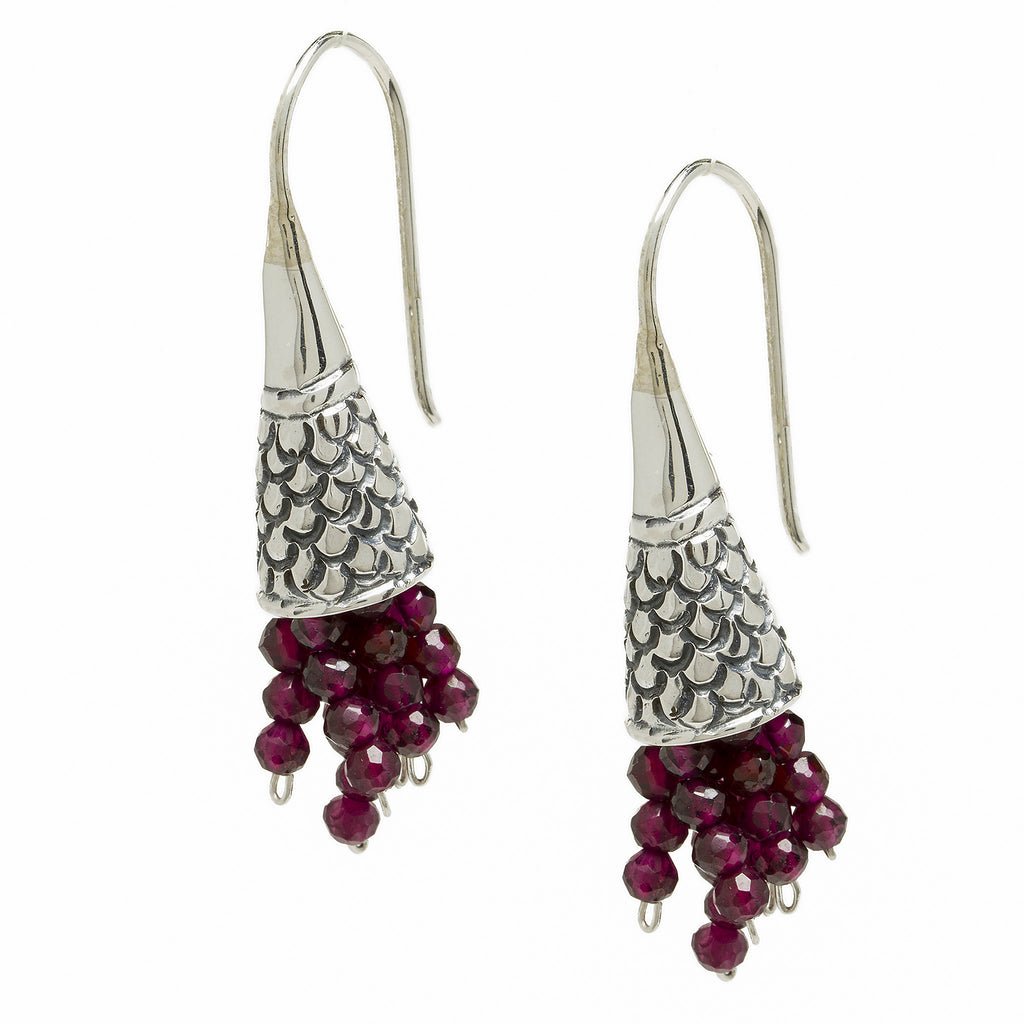Sterling Silver Rhyton Earrings with Garnet Beads