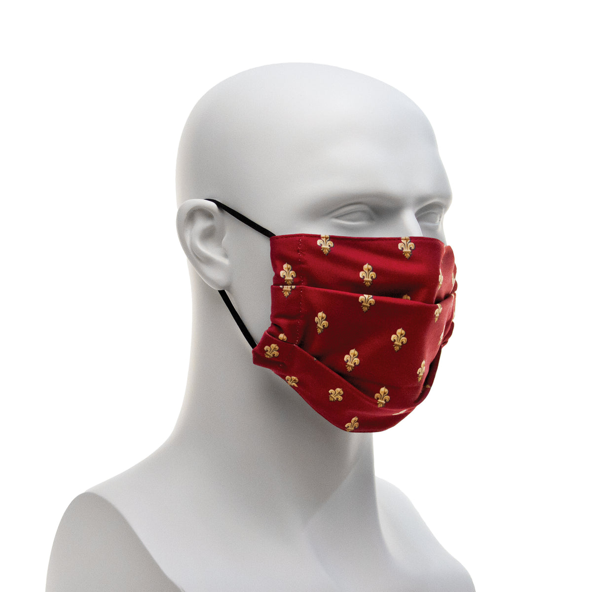 Cloth Face Covering - Maroon Fleur-de-lis Pattern