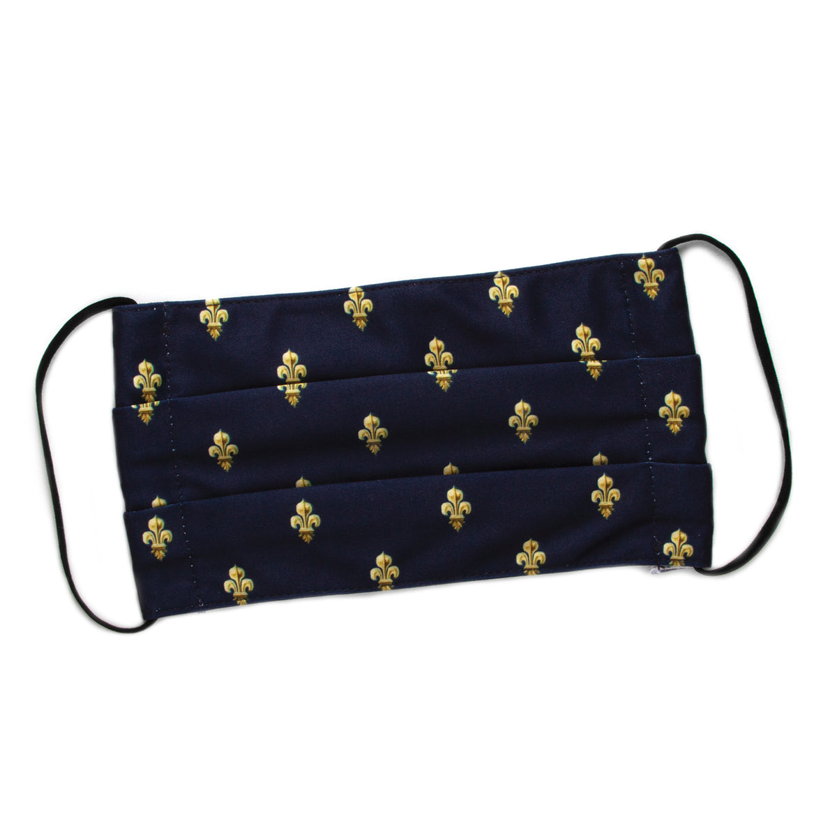 Cloth Face Covering - Navy Blue Fleur-de-lis Pattern