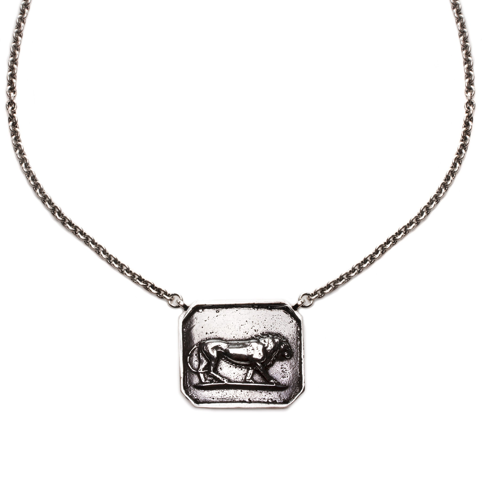plated the getty pendant necklace lion store bronze products silver