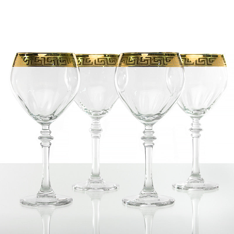 Gold Greek Key Design Wine Glasses - Set of Four