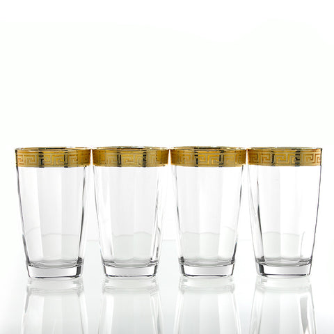 Gold Greek Key Design Highball Glasses - Set of Four