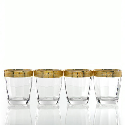 Gold Greek Key Design Old Fashioned Glasses - Set of Four