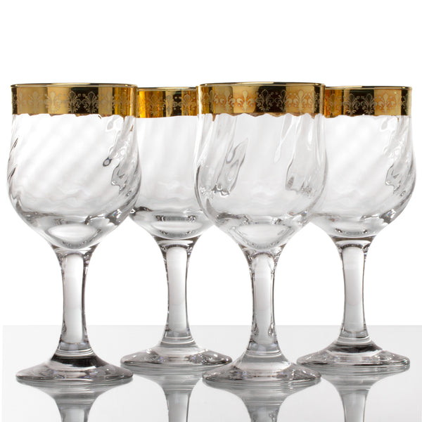 Gold Fleur-de-Lys Design Wine Glasses - Set of Four