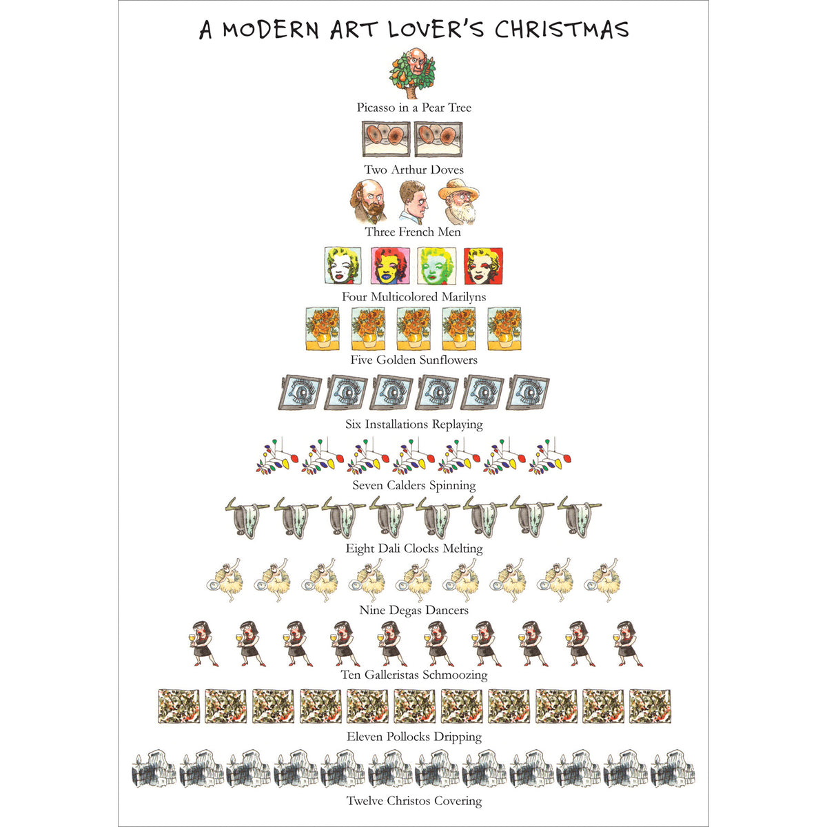 Holiday Boxed Note Cards - Modern Art Lover's 12 Days of Christmas