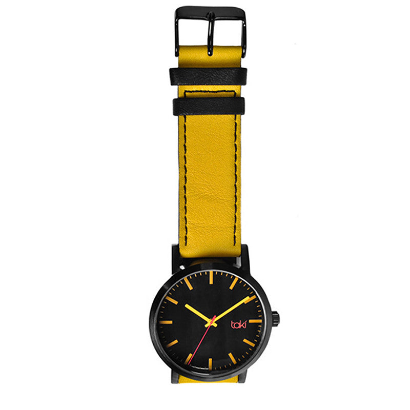Yellow/Black Leather Watch | Getty Store