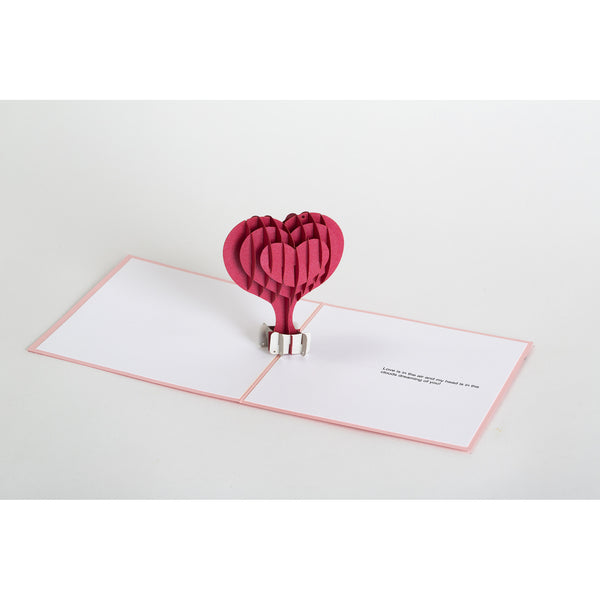 Pop-Up Valentine Note Card - Heart Air Balloon