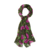 Lightweight Floral Scarf - Pink and Green