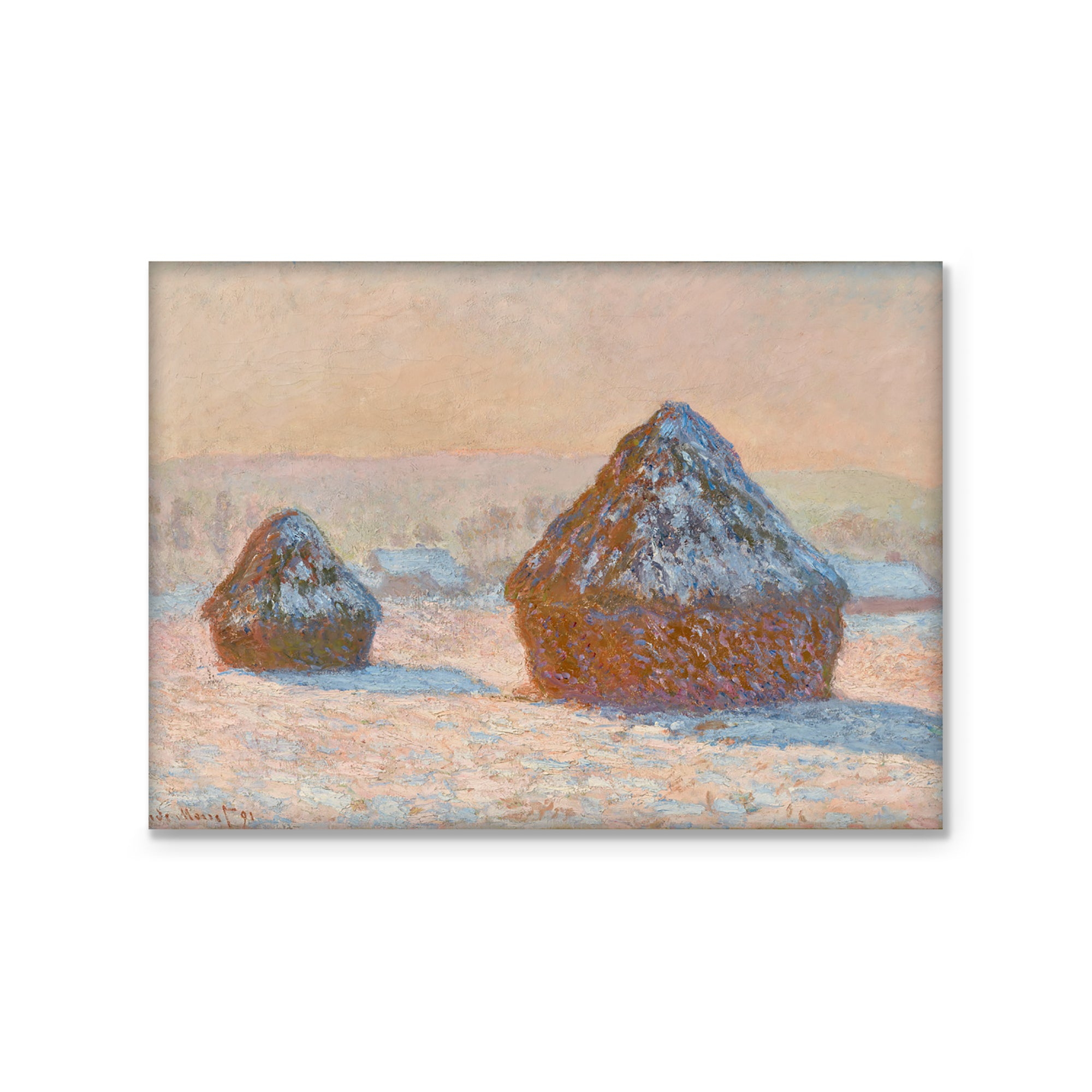 Magnet- Wheatstacks, Snow Effect, Morning | Getty Store