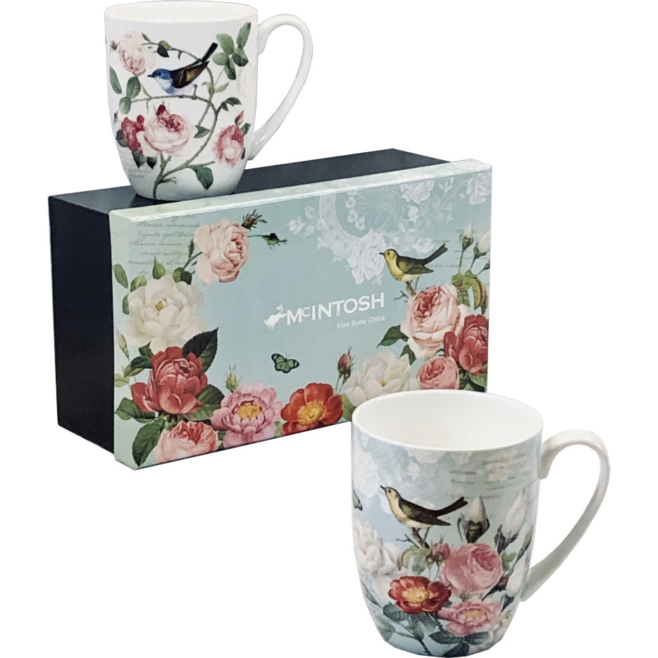 Pair of Fine Bone China Mugs - Bird Garden