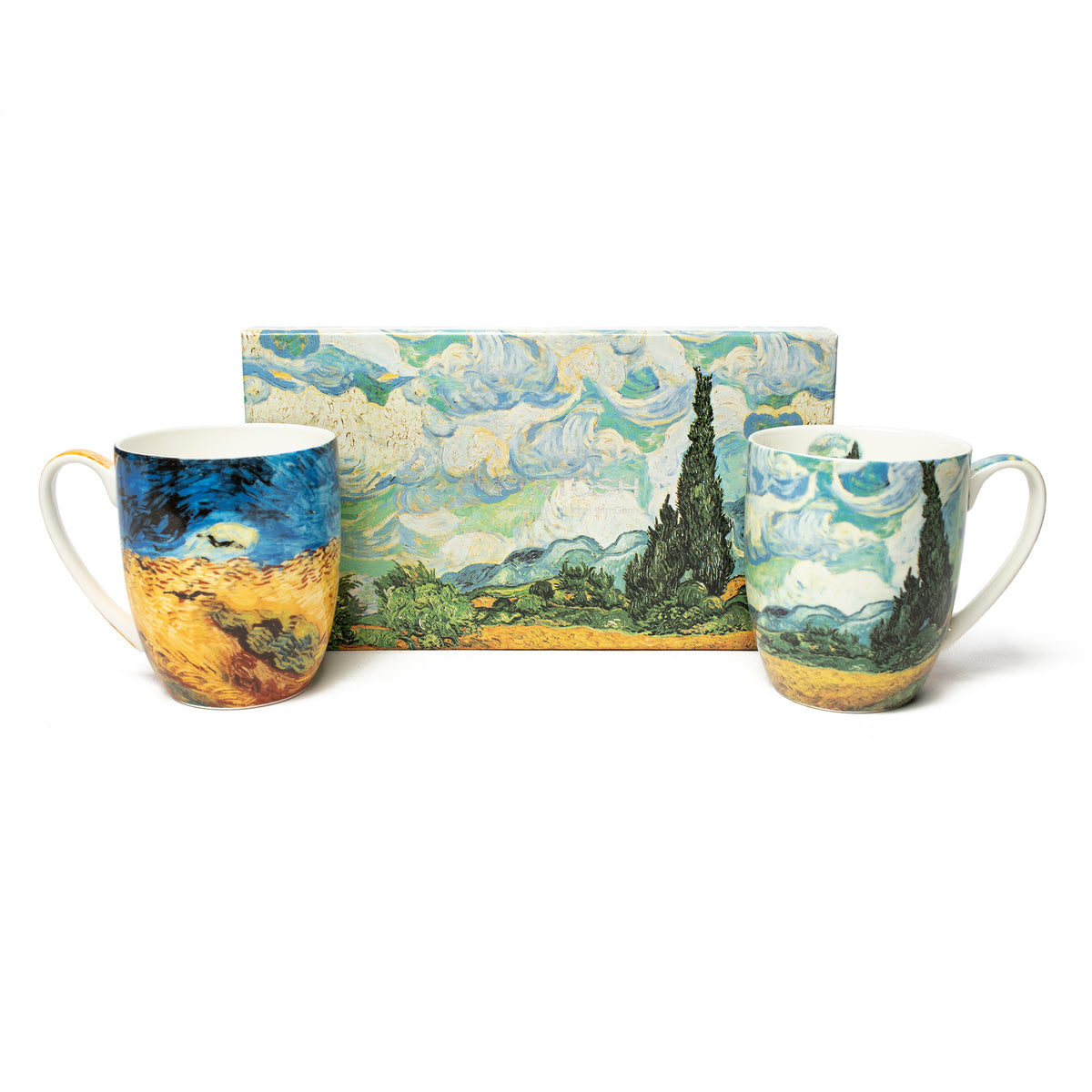 Pair of Fine Bone China Mugs featuring Van Gogh's Wheatfields with Gift Box | Getty Store