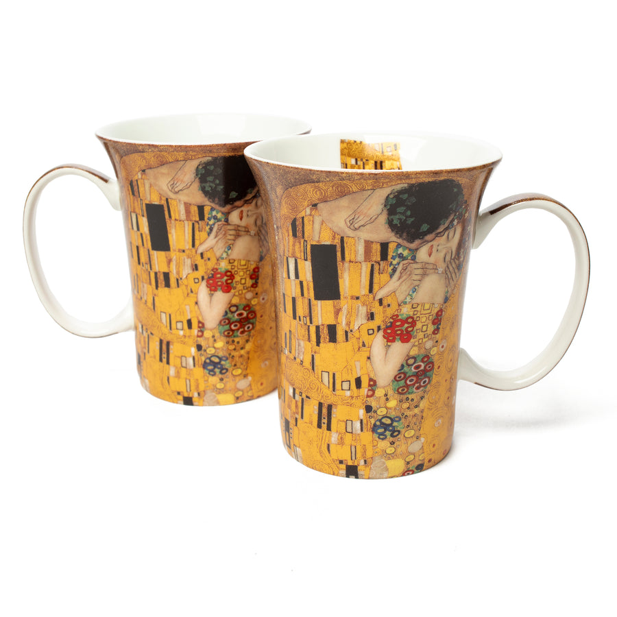 Pair of Fine Bone China Mugs featuring Klimt's <i>The Kiss</i>
