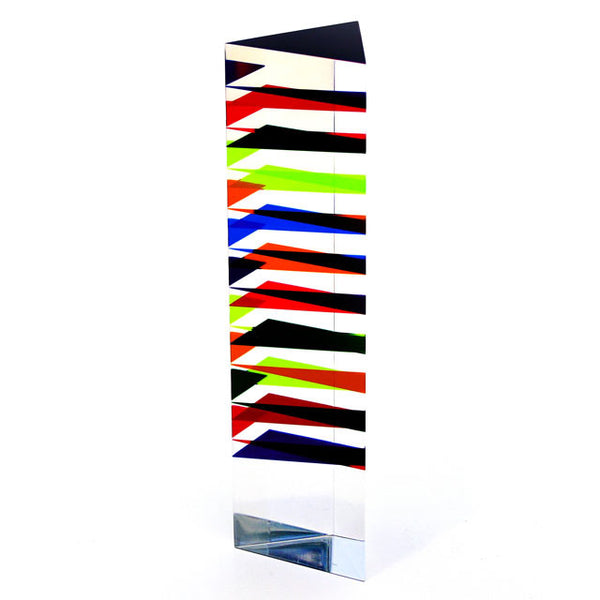 Vasa Multiplane Triangle Column Cast Acrylic Sculpture