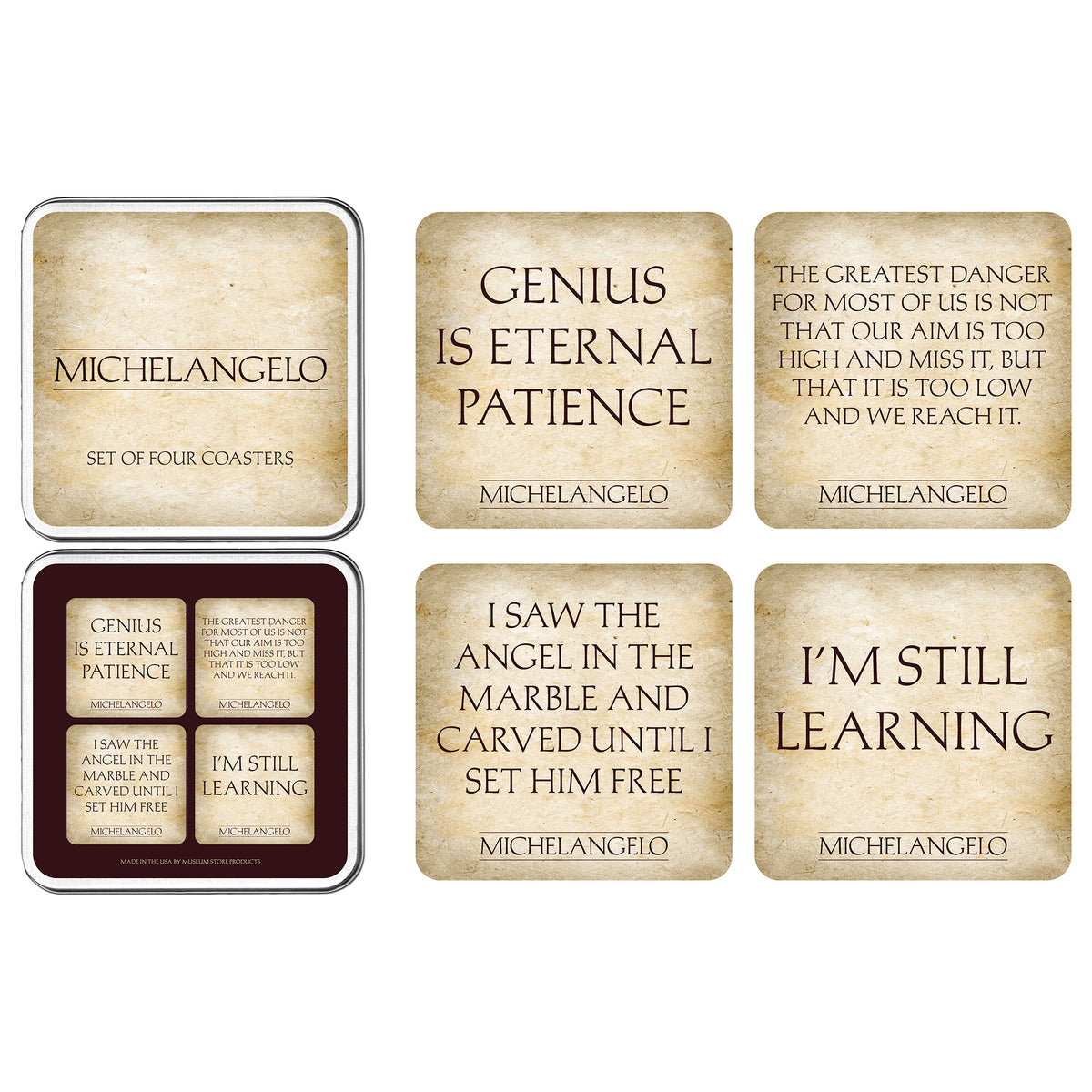 Coaster Set Michelangelo Quotes
