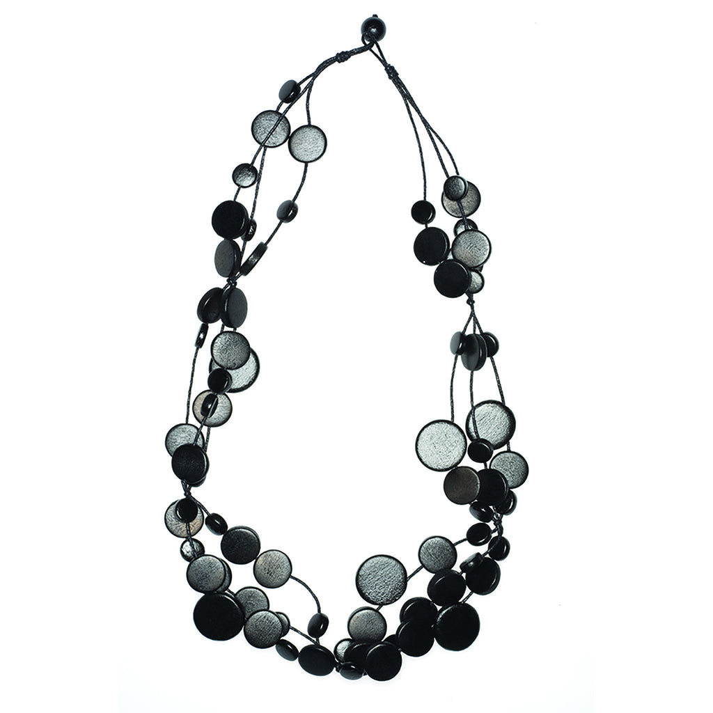 Black Multi Circle Disc Necklace