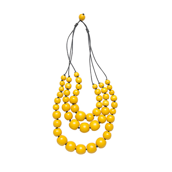 Yellow Triple Strand Necklace