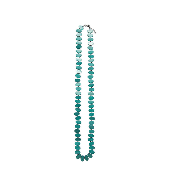 Turquoise Flat Knotted Disc Necklace