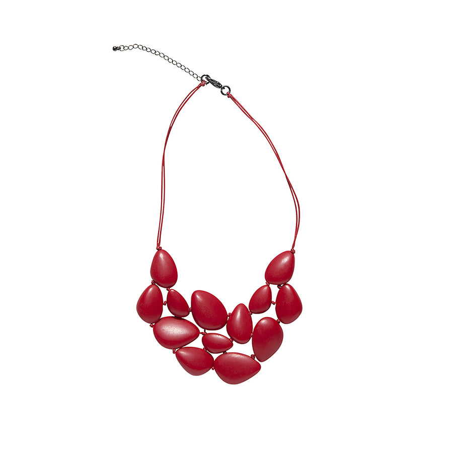 Red Pebble Plate Necklace