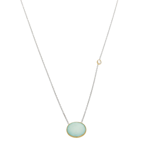 Sterling Silver and Vermeil Necklace with Chalcedony Pendant
