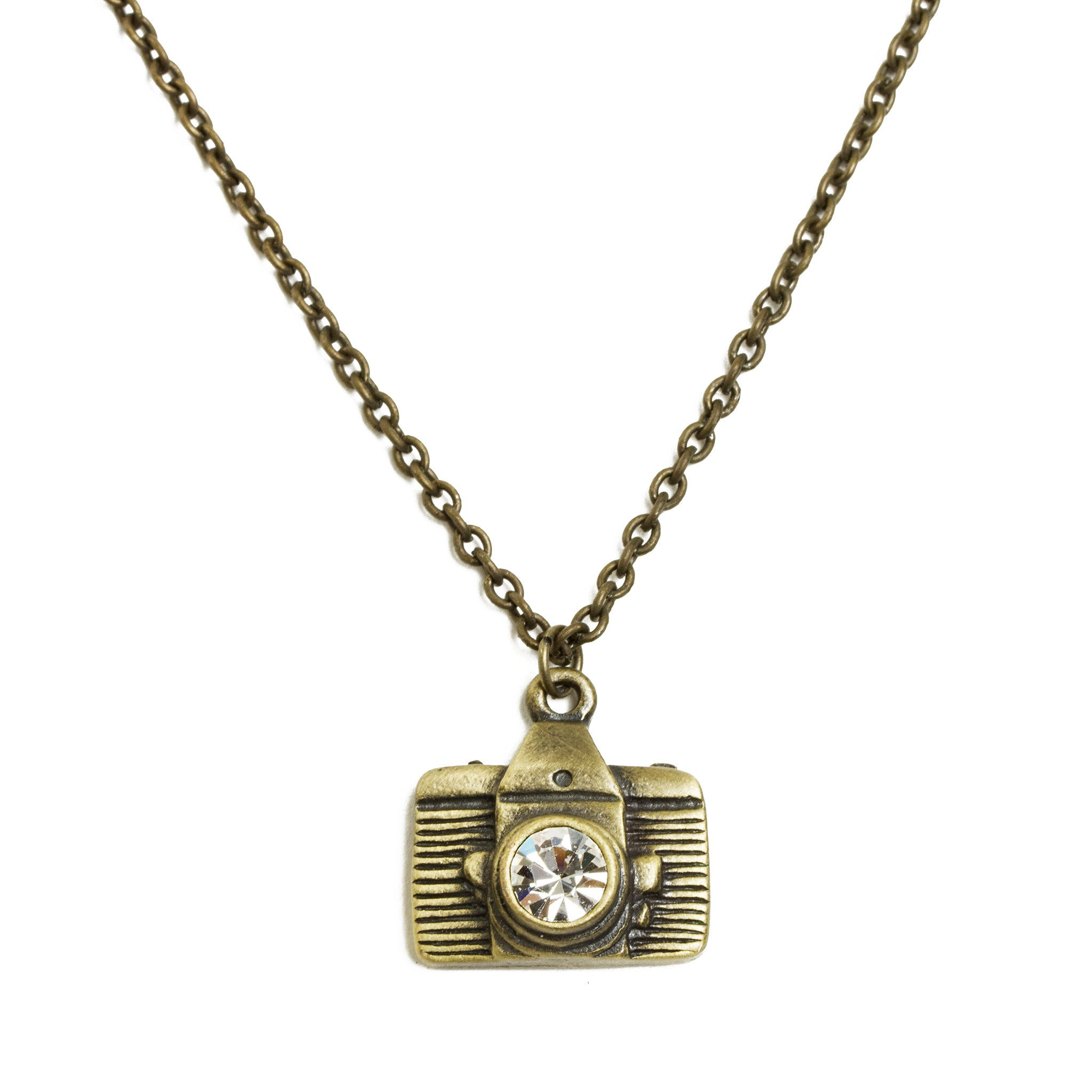 Camera necklace gold tone the getty store camera necklace gold tone mozeypictures Image collections
